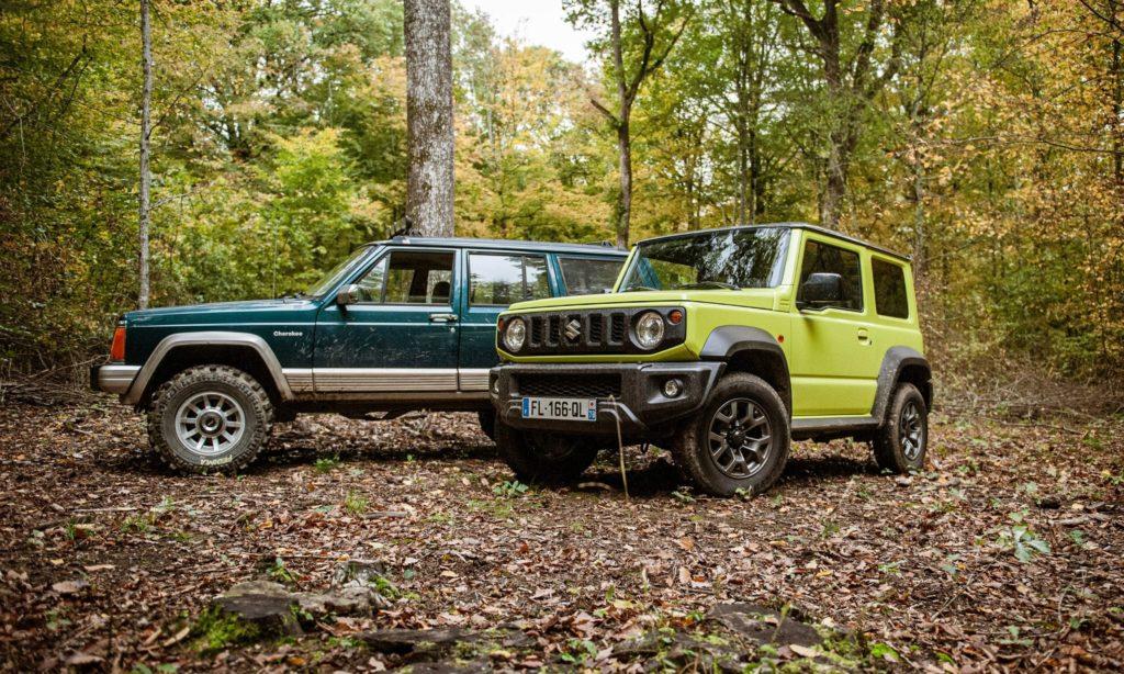Suzuki Jimny et Jeep Cherokee dans la fortêt